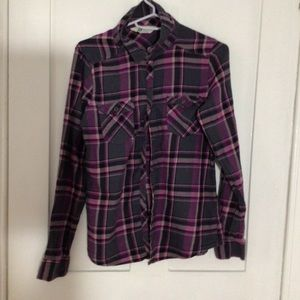 Purple Plaid Flannel with 2 Pockets - H&M